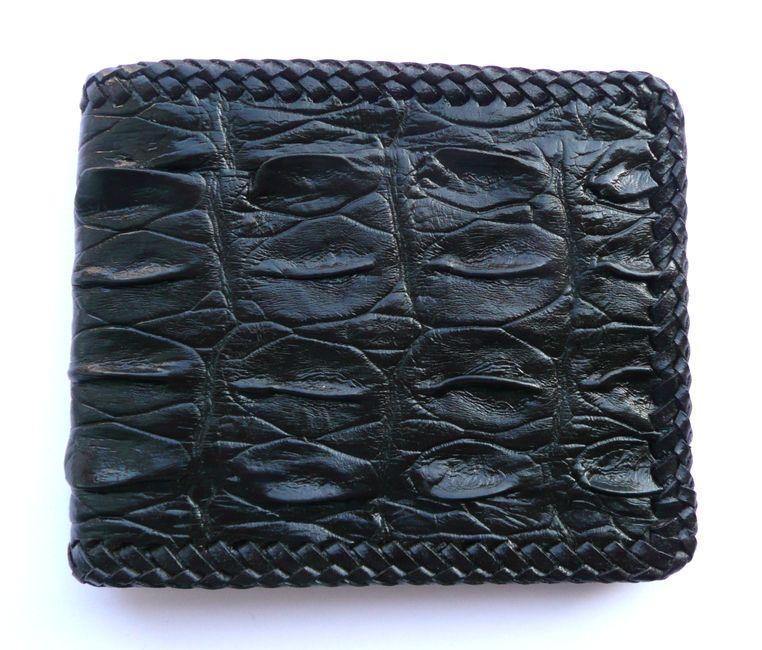 Peněženka z krokodýlí kůže černá prošívaná 610