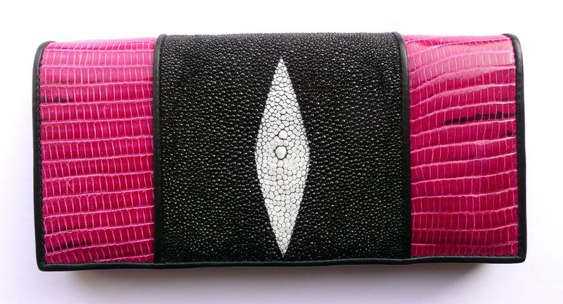 Peněženka z rejnočí a varaní kůže Pink 054