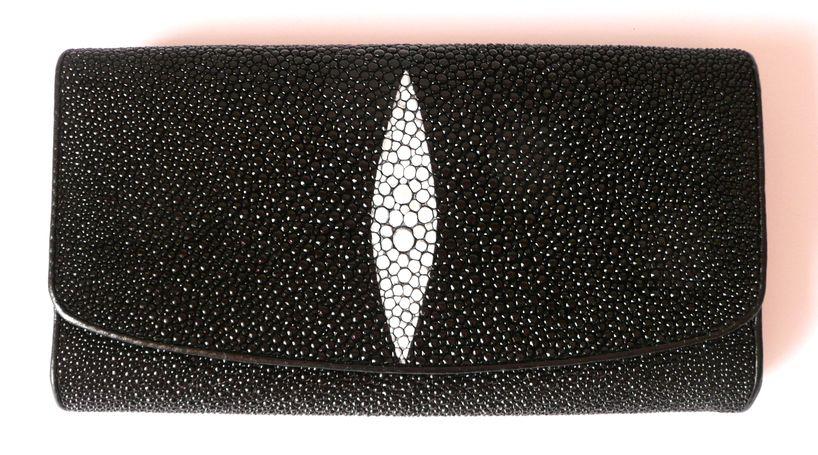 Peněženka z rejnočí kůže černá velká 012