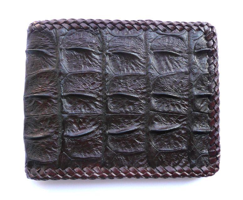 Peněženka z krokodýlí kůže hnědá prošívaná