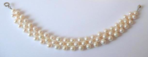 Náramek z mořských perel bílý třířadý 20 cm