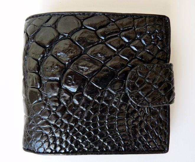 Peněženka z krokodýlí kůže černá prostorná Exclusive