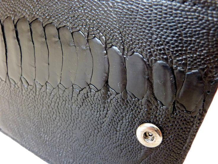 Peněženka z pštrosí kůže černá malá