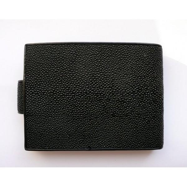Peněženka z rejnočí kůže černá prostorná se zapínáním