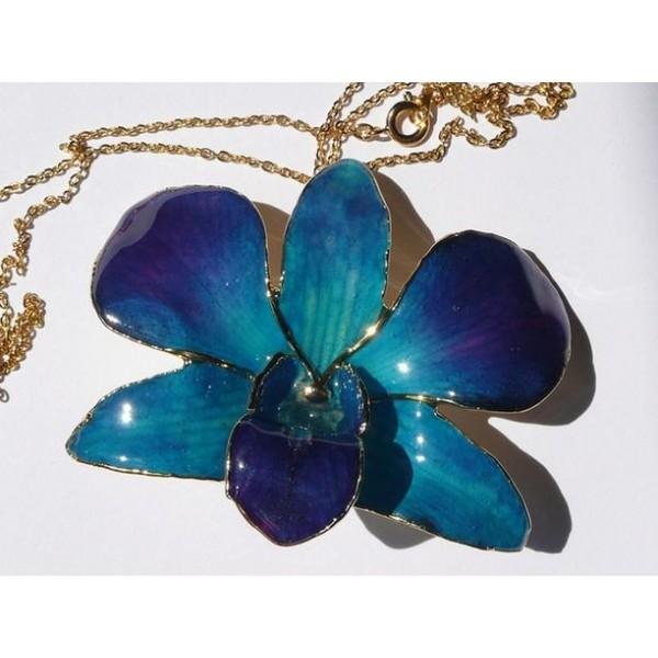 Orchidej ve zlatě modrá velká náhrdelník i brož