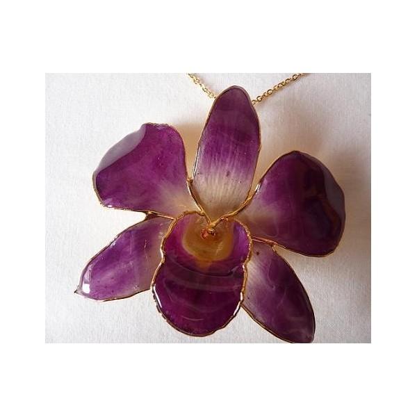 Orchidej ve zlatě fialová velká řetízek i brož