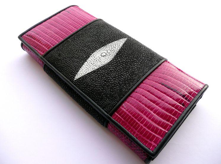 Peněženka z rejnočí a varaní kůže Pink